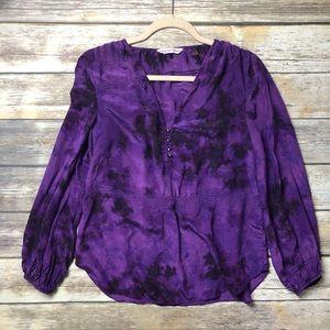 Rebecca Taylor Silk Tie Dye Relaxed Blouse